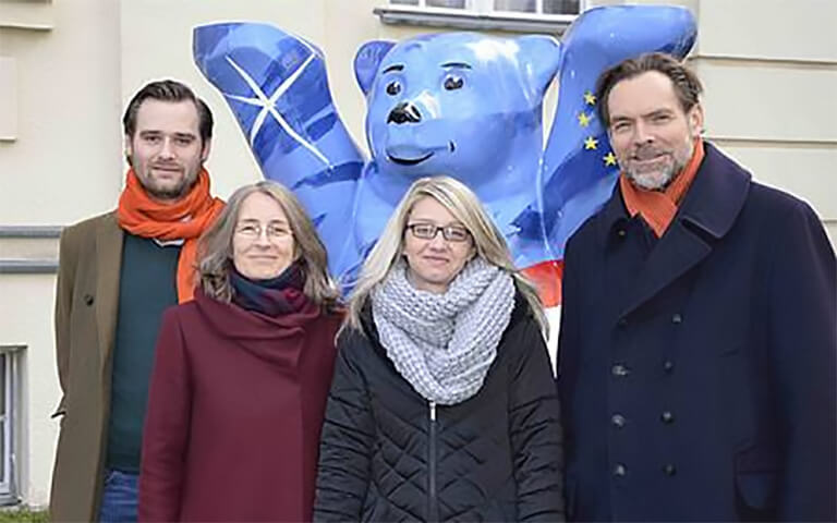 Team of the chair of  Environment and Economics,with Sven Scheid, Andreas Aigner, Jessica Thater, Nepomuk Dunz, Paul Wolf, Prof. Dr. Sylvie Geisendorf, Daniel Johnson, Eike Baur and Cindy Lehmann, Berlin campus, ESCP
