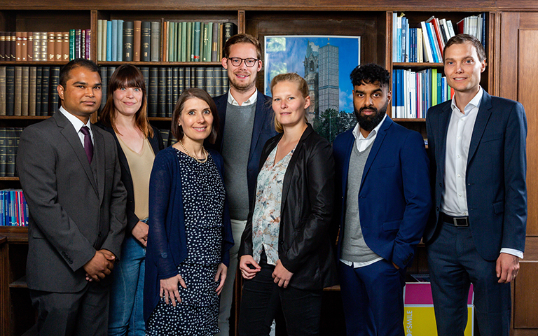 Team of the Chair Supply Chain and Operations Management, with from left to right: Mehedi Al-Zamy Sagar (Student Assistant), Cindy Lehmann (former Programme Manager), Astrid Tröster (Assistant), Florian Wissuwa (Research Assistant/PhD student), Marlene M. Hohn (Research Assistant/PhD student), Vijai Mani (Research Assistant/PhD student), Prof. Dr. Christian F. Durach (Chairholder)., Berlin campus, ESCP