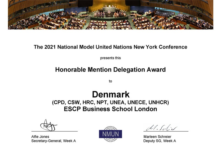 ESCP London Campus Students Win Award at National Model United Nations New York Conference