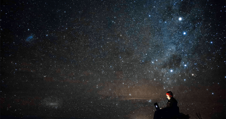 Person looking at the stars