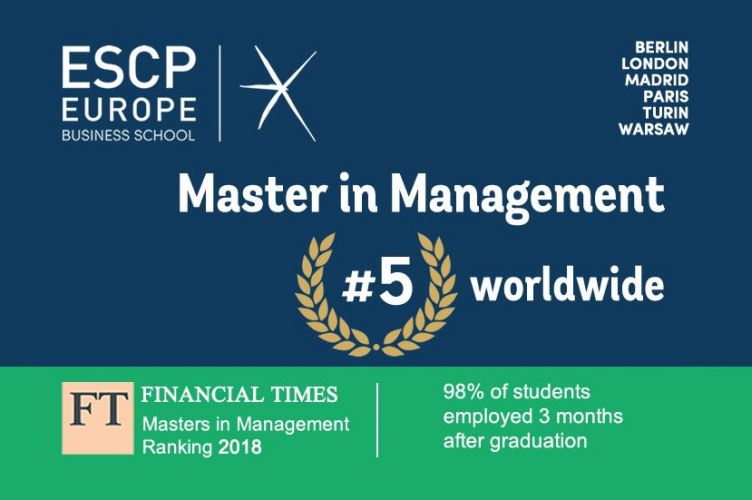 ESCP Europe's Master in Management programme ranks number five