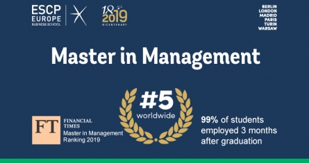 Ranking 2019 Financial Times, Master in Management, ESCP